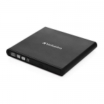 Verbatim External CD/DVD ReWriter, USB 2.0, Slim, Black