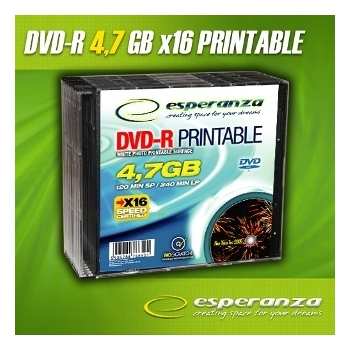 DVD-R ESPERANZA [ slim jewel case 10 | 4,7GB | 16x | to nadruku ]