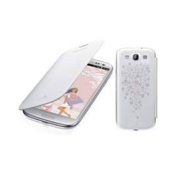 Husa Samsung Galaxy S3 I9300 Flip Cover White la Fleur EFC-1G6RWEGSTD