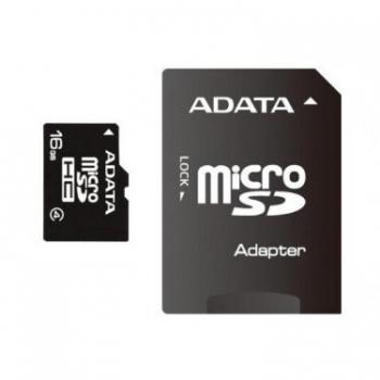 Card Memorie MicroSDHC ADATA 16GB Clasa 4 + Adaptor SD AUSDH16GCL4-RA1