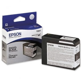 Cartus Cerneala Epson T5801 Photo Black 80ml for Stylus Pro 3800, Stylus Pro 3880 C13T580100