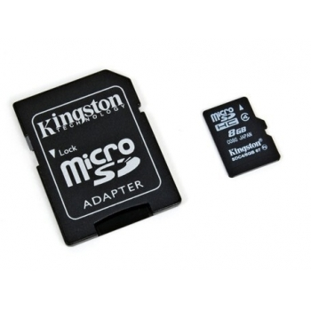 Card Memorie MicroSDHC Kingston 8 GB Clasa 4 + adaptor SD SDC4/8GB