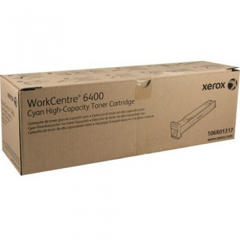 Cartus Toner Xerox 106R01317 Cyan High Capacity 14000 Pagini for WorkCentre 6400S, 6400X