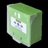 Buton iesire de urgenta SCP-100 cu 3 comutatoare NC-COM-NO culoare verde; nu necesita sticla, revenire cu cheie; protectie de plastic inclusa