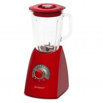Blender de masa Oursson BL0640G/RD, accesoriu inclus: ransita, putere: 600W, capacitate vas sticla: 2L, 7 viteze + functie Turbo, functie zdrobire gheata, tocare, maxinare, mixare, rosu