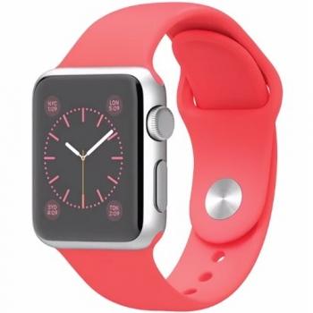Smartwatch Apple Watch sport 38 mm carcasa din aluminiu argintiu curea sport roz