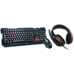 KIT Tastatura+Mouse+Casti Genius USB BLACK KMH-200