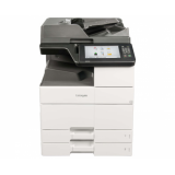 Lexmark MX912de, A3, print/scan/copy/fax, print: 65 ppm simplex/duplex (A4), fpo 5.2 sec, rezolutie 1200x1200dpi, memorie 1GB, max 3GB, HDD 320GB, PCL5e, PCL6, PS3, XPS, xHTML, PPDS, PDF 1.7, AirPrint, tavi 150+2x500 coli (max 6650 coli), duplex; copy : 6