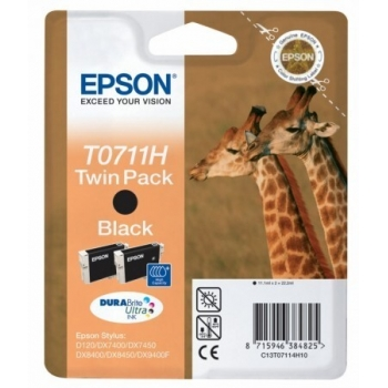 Pachet Cartus Cerneala Epson T0711H Black 2 Bucati 2x11.1ml for D120, DX7400, DX8400, DX9400F C13T07114H10