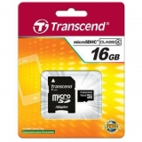Card Memorie MicroSDHC Transcend 16GB Clasa 4 + Adaptor SD TS16GUSDHC4