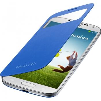 Husa Samsung S-View pentru Galaxy S4 i9500, I9505 Rigel Blue EF-CI950BLEGWW
