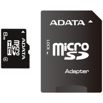 Card Memorie MicroSDHC ADATA 8GB Clasa 4 + Adaptor SD AUSDH8GCL4-RA1