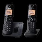 """TGC210FXB, telefon DECT, 1,6"""" LCD display cu iluminare, speaker, CLIP, agenda 50 numere, speed dial, keypad lock, montare pe perete, 2 receptoare, culoare negru"""