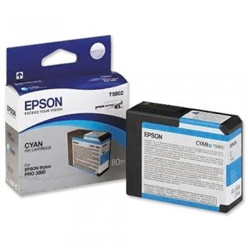 Cartus Cerneala Epson T5802 Cyan 80ml for Stylus Pro 3800, Stylus Pro 3880 C13T580200