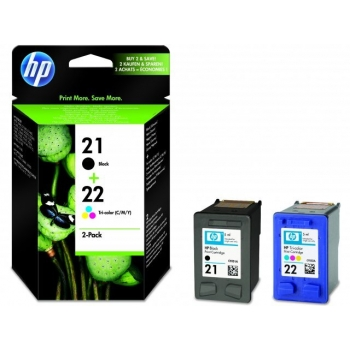 Pachet Cartuse Cerneala HP Nr. 21/22 Black/Color for Deskjet 3920, Deskjet 3940, Deskjet D1360, Deskjet D1460, Deskjet D1560, Deskjet F2290,PSC 1410, Deskjet D2360, Deskjet D2460,Deskjet F2180, Deskjet F2280,Deskjet F370, Deskjet F380 AIO,Deskjet F4172