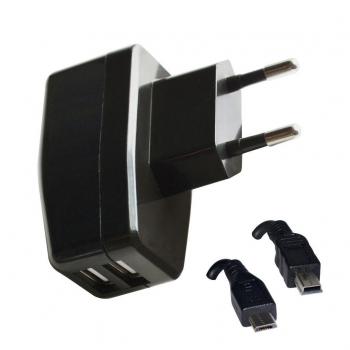VAKOSS Incarcator USB, 2in1 micro/mini USB, 2,1A, AC 100~240V TP-1874UK negru
