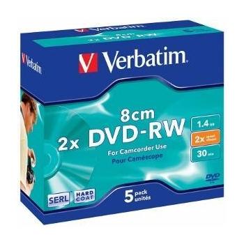 Verbatim mini DVD-RW[ 1.4GB, 2x, jewel case, hard coat, 5 bucati ]