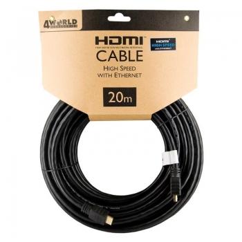 4World Cablu HDMI - HDMI High Speed cu Ethernet (v1.4), 3D, HQ, negru, 20m