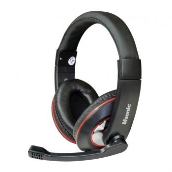 Casti Vakoss MH535KR cu microfon si control de volum black-red