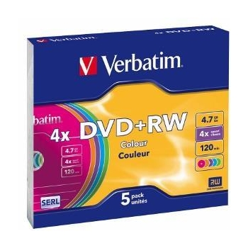 Verbatim DVD+RW  [ 4.7GB, 4x, slim jewel case, colorat , 5 bucati]