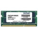 Memorie RAM Laptop SO-DIMM Patriot 4GB DDR3 1600MHz CL11 PSD34G16002S