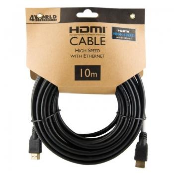 4World Cablu HDMI - HDMI High Speed cu Ethernet (v1.4), 3D, HQ, negru, 10m