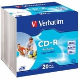 Verbatim CD-R  [ 20pcs, 700MB, 52x, slim jewel case, printabil ]