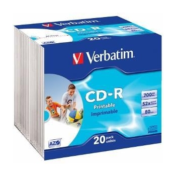 Verbatim CD-R  [ 20pcs, 700MB, 52x, slim jewel case, printabil ]