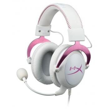 Casti Kingston HyperX Cloud II Pink l 7.1 virtual surround cu microfon si control de volum Placa de sunet pe USB KHX-HSCP-PK
