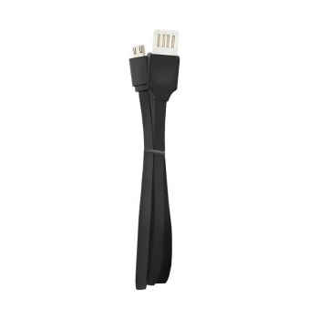 Qoltec USB Cable A male DOUBLE SIDED PLUG / Micro USB male | FLAT | 1.0m