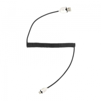 Qoltec USB spiral Cable A male / MicroUSB male | 1.6m