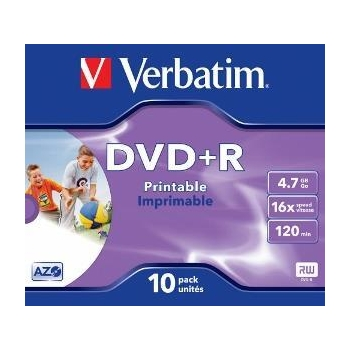Verbatim DVD+R[ 4.7GB, 16x, jewel case, printabil, 10 bucati ]