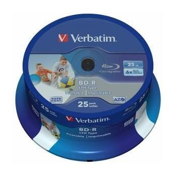 BluRay BD-R Verbatim [ spindle 25 | 25GB | 6x| WIDE PRINTABLE NO ID SURFACE ]