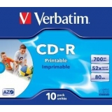 Verbatim CD-R [ 10p [ 10pcs, 700MB, 52x, jewel case, printabil ]