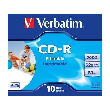Verbatim CD-R [ 10p [ 10pcs, 700MB, 52x, jewel case, printabil ]