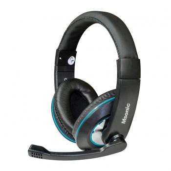 Casti Vakoss MH535KB cu microfon si control de volum black-blue
