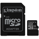 Card Memorie Kingston Micro SDHC 16GB Clasa 10, UHS-I + Adaptor SD SDCS/16GB