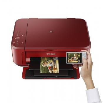 Multifunctional inkjet color Canon Pixma MG3650 Red, dimensiune A4 (Printare, Copiere, Scanare), duplex, viteza 9.9ipm alb-negru, 5.7ppm color, rezolutie 4800x1200 dpi, alimentare hartie 100 coli, imprimare fara margini, scanner cu suport plat CIS, rezolu