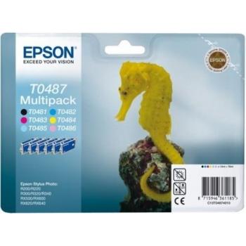 Multipack Cartuse Cerneala Epson T0487 CMYK-LC-LM for Epson Stylus Photo R200, R220, R300, R320, R340, RX500, RX600, RX620, RX640 C13T04874010
