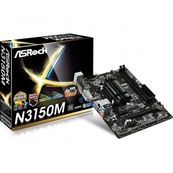 Placa de baza ASRock N3150M Intel Celeron Quad Core N3150 Braswell up to 2.08GHz 2x DDR3 VGA DVI HDMI mATX