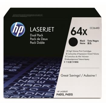 Pachet Cartus Toner HP Nr. 64X Black 2 Bucati 2x20000 Pagini for LaserJet P4015DN, P4015N, P4015TN, P4015X, P4515N, P4515TN, P4515X, P4515XM CC364XD
