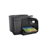 Officejet Pro 8710 e-All-in-One; Printer, Fax, Scanner, Copier, Web, A4, print (ISO speed): max 22ppm a/n, 18ppm color, max 4800x1200dpi, HP PCL 3 GUI, HP PCL 3 Enhanced, 128 MB RAM, duplex print/copy, borderless printing A4, CGD touchscreen 6.73cm, tava