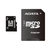 Card Memorie MicroSDHC ADATA 4GB Clasa 4 + Adaptor SD AUSDH4GCL4-RA1
