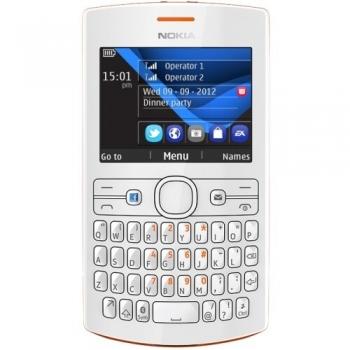 Telefon Mobil Nokia Asha 205 Orange White Dual SIM tastatura qwerty NOK205DSOW
