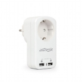 Priza Gembird 1 x Socket, USB charger 2-port, 2.1A, White