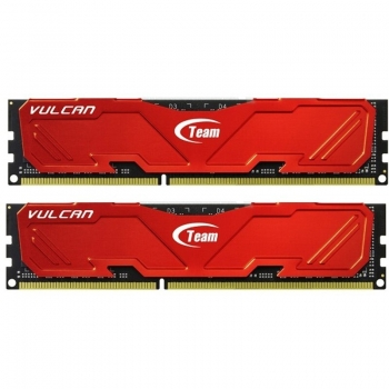 Memorie RAM TeamGroup, DIMM, DDR3, 16GB, 1600MHz, CL10, Kit 2x8GB, Vulcan Red, 1.65V