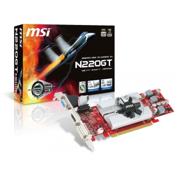 Placa Video MSI nVidia GeForce GT 220 1GB GDDR3 128bit PCI-E x16 2.0 HDMI DVI VGA N220GT-MD1GD3/LP