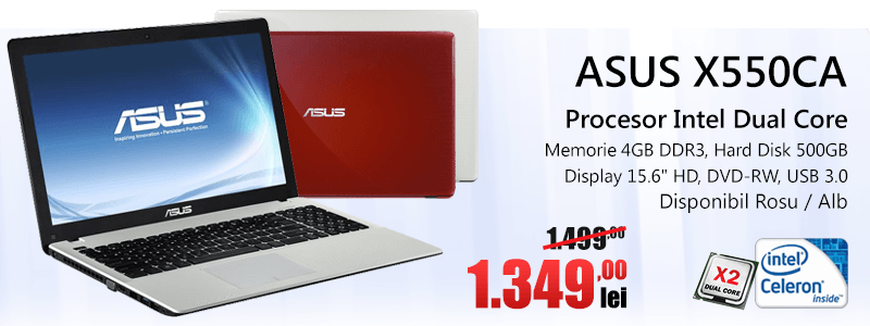 Laptop Asus X550CA White/Red