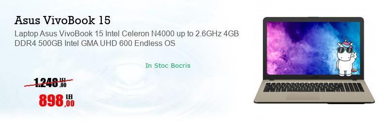 Laptop Asus VivoBook 15 Intel Celeron N4000 up to 2.6GHz 4GB DDR4 500GB Intel GMA UHD 600 Endless OS
