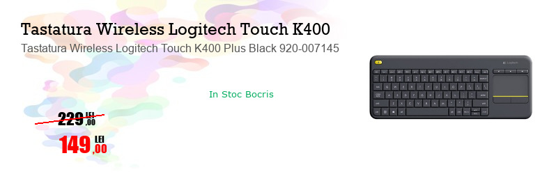 Tastatura Wireless Logitech Touch K400 Plus Black 920-007145